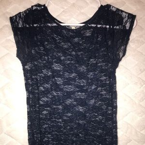 Navy Blue Forever 21 see through floral shirt